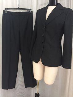 b703c09573a Calvin Klein Luxurious Black Pinstripe Women s Lined Pant Suit Size 8 New!   CalvinKlein