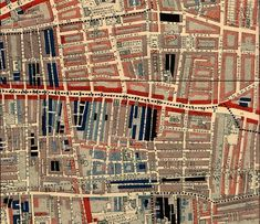 """Poverty map of Commercial Road in Whitechapel from Booth'sLabour and Life of the People, Volume 1. 1889.  The streets are colored to represent the economic class of the residents: Yellow (""""Upper-middle and Upper classes, Wealthy""""), red (""""Lower middle class - Well-to-do middle class""""), pink (""""Fairly comfortable good ordinary earnings""""), blue (""""Intermittent or casual earnings""""), and black (""""lowest class…occasional labourers, street sellers, loafers, criminals and semi-criminals"""").  aubade"""