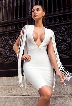 622988e6a41d Tassel V Neck Mini White Club Party Dress