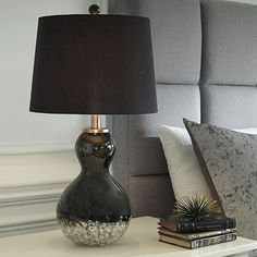 Fall in love with the Arma Black/Copper Finish Glass Table Lamp by Signature Design by Ashley at Direct Value Furniture proudly serving Roscoe, IL and surrounding areas for over 10 years! Black Table Lamps, Table Lamp Sets, Furniture Direct, City Furniture, Gourd Lamp, Trendy Home Decor, Elegant Homes, Signature Design, Drum Shade