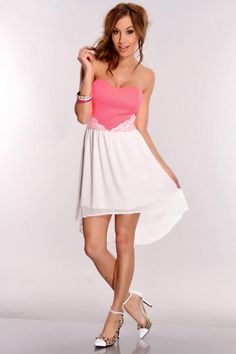 Hot Pink White High Low Hem Dress / Sexy Clubwear | Party Dresses | Sexy Shoes | Womens Shoes and Clothing | AMI CLubwear