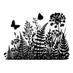 Crafty Individuals CI-365 - 'Ferns and Butterflies Silhouette' Art Rubber Stamp, 95mm x 68mm - Crafty Individuals from Crafty Individuals UK