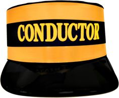 "Conductor Hat Economy Description: All aboard that's coming aboard! Black train conductor hat with yellow screen printed ""Conductor"" and gold trim accen Train Conductor Costume, Dinosaur Train Party, Ward Christmas Party, Office Christmas, Xmas Party, Winter Christmas, Merry Christmas, Polar Express Party, Trains Birthday Party"