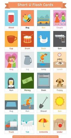 Free printable short U flash cards. Download them in PDF format at http://flashcardfox.com/download/short-u-flash-cards/