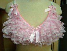 Vintage Style Lace Bra Adult Sissy - Cross dresser - fetish - Bra for Men Custom made to order Pink Lace, White Lace, Baby Doll Nighties, Dress Bra, Pretty Bras, Pink Lingerie, Women Lingerie, Satin Bows, Satin Fabric