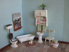 Vintage Dollhouse Bathroom Furniture  REEVESLINE by TheToyBox