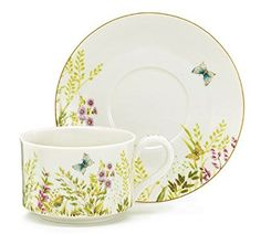 Majestic Butterfly Porcelain Hand Painted Cup & Saucer