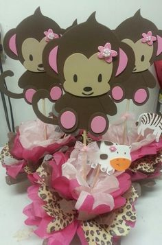 Girl Monkey Theme Baby Shower | Baby Shower Theme Centerpieces - Adrianas Creations