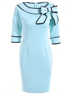Slash Neck Bowknot Pencil Dress - Light Blue S Vintage Outfits, Vintage Fashion, Quoi Porter, Moda Emo, Dress Plus Size, Black Dress With Sleeves, Boat Neck Dress, Estilo Fashion, Mode Vintage