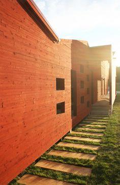 Plankor som gång Garage Doors, Cabin, Architecture, Outdoor Decor, Modern, Inspiration, Home Decor, Arquitetura, Biblical Inspiration