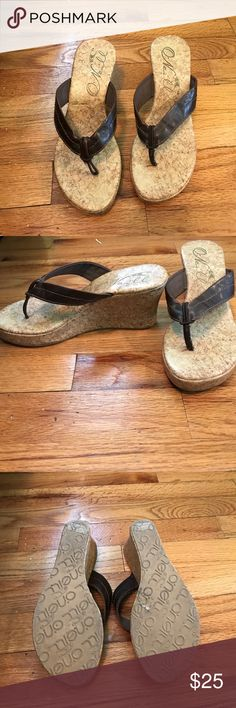 O'neill Cork flip flop Wedges Barely worn, brown leather straps Shoes Wedges