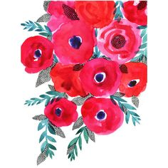 Red flowers bouquet ($21) ❤ liked on Polyvore featuring home, home decor, floral decor, flowers, filler, backgrounds, art, borders, effect and doodle