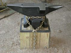 """330 lb. #58  Anvil Stand burried 30"""" into the dirt floor... it ain't going anywhere. :)"""