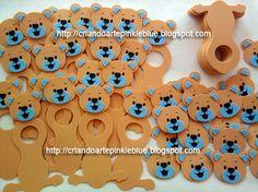 Ursinho de e.v.a. Porta-bombom Ursinho bege com azul. Orçamento dos nossos trabalhos só por e-mail: atendimentopinkieblue.blogspot.com...