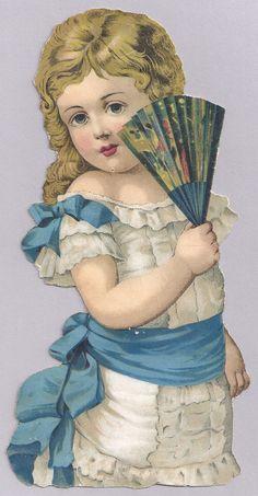 """1880s 90s Vintage Victorian Era Young Woman w Art Fan 4 1 2"""" x 10"""" Die Cut   eBay"""