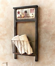 Rustic Old Fashioned Washboard Basket Rack Primitive Country Folk Art Wall Decor Country Decor, Farmhouse Decor, Country Art, Country Style, Washboard Decor, Old Washboards, Primitive Bathrooms, Baskets On Wall, Wall Basket