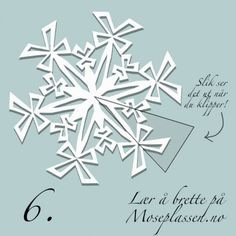 Snow crystal clip in paper Paper Snowflake Designs, Paper Snowflake Template, Paper Snowflakes, Paper Stars, Christmas Snowflakes, Christmas Crafts, Paper Folding Crafts, Diy Paper, Paper Crafting