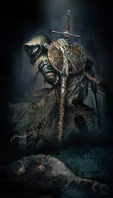 Fallen Knight is official concept artwork for action role playing video game Dark Souls III, made by Japanese studio FromSoftware. High Fantasy, Dark Fantasy Art, Dark Art, Inspiration Drawing, Fantasy Inspiration, Fantasy Armor, Medieval Fantasy, Fantasy Character Design, Character Art