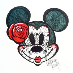 Minnie Mouse Sugar Skull