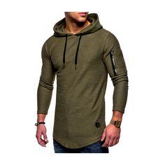 Fashion Men Hoodies Autumn Long Sleeve Hooded Sling Sweatshirt Casual Zip Solid Color Male Pullover Hip Hop Top Moletom L-XXXL Shirts & Tops, Casual T Shirts, Sports Shirts, Men Casual, Casual Tops, Casual Outfits, Hoodie Sweatshirts, Mens Summer T Shirts, Longsleeve