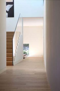 wood stairs w/ glass railing