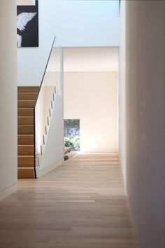 wood stairs w/ glass railing