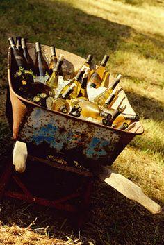 Wheelbarrow with drinks.