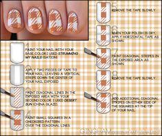 Get the gingham look yourself with my new... Nail Art Blog, Nail Art Diy, Diy Nails, Plaid Nail Art, Plaid Nails, Checkered Nails, Love Nails, How To Do Nails, Style Nails