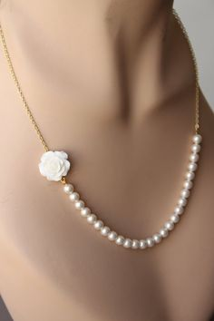 Swarovski Pearl Necklace with White Rose by annapanik on Etsy, $30.00