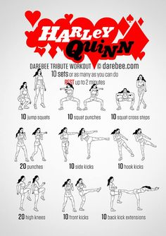 This is a cool exercise routine I found inspired by one of my favorite superheroes, Harley Quinn, and I like it because it simply states what to do and includes a visual aid. High cognitive level.