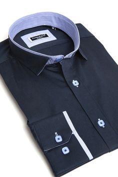 Navy blue dress shirt for men by Franck Michel
