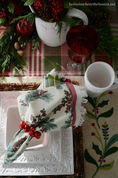 think of this evrgrn garland with nuts fall plaid and my embossed white leaf plates for different fall dinners Christmas with Pfaltzgraff Country Cupboard | Home is Where the Boat Is