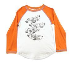 Bit'z Kids Brooklyn Hot Dog Raglan Sleeve Tee (cream/orange) at Black Wagon
