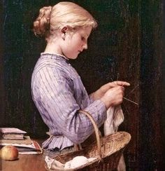It's About Time: Sewing indoors - Girls knitting Albert Anker 1831-...