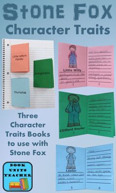 Three Free Printable Character Traits Mini-Books to use when reading Stone Fox