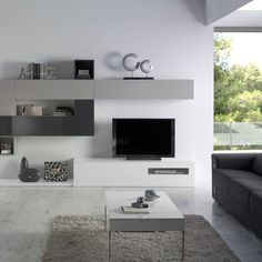 Mueble de diseño minimalista con puertas abatibles y cubos