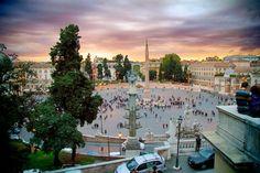 ROME - ITALY  Piazza del Popolo, vista da descida da Colina Pinciana, onde se localiza a Villa Borghese