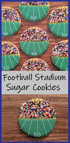 Football Stadium Sugar Cookies | But First, Cookies Easy Sugar Cookies, Royal Icing Cookies, Cupcake Cookies, Cookie Favors, Baby Cookies, Flower Cookies, Heart Cookies, Football Sugar Cookies Royal Icing, Quick Cookies