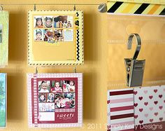 showcasing scrapbook layouts/cards/artwork in craft room