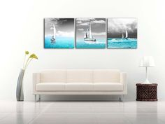 Amazon.com: Canvas Print Wall Art Painting For Home Decor Tropical Blue Ocean Sea And Sailingboats In Black Sky 3 Pieces Panel Paintings Modern Giclee Stretched And Framed Artwork The Picture For Living Room Decoration Seascape Pictures Photo Prints On Canvas: Oil Paintings