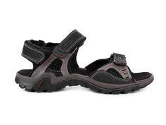 Gruna Pánské kožené sandály s přímým nástřikem / černá