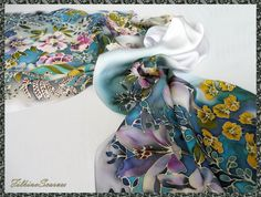 Night Flowers Hand Painted Silk Scarf Satin by FilkinaScarves