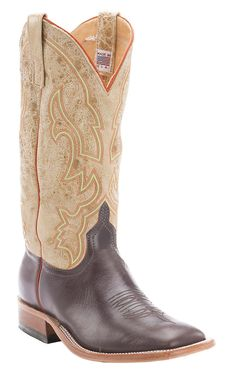 Anderson Bean® Men's Chocolate with Distressed Tan Top Double Welt Square Toe Cowboy Boots