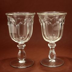 Heisey Old Williamsburg Water Goblets Pair Clear Glass Vtg.