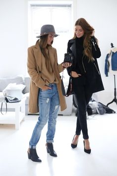 duo in camel, denim & black looks #style #fashion