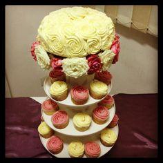 Totally homemade wedding cake and cupcakes for an #Islamic #wedding