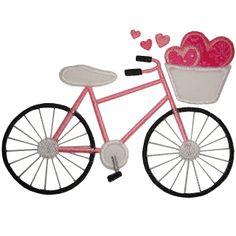 Valentine bicycle Applique