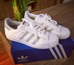 Bought myself my very first adidas sneakers. Superstar glitter