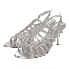 Open Toe Medium Heel Strappy Sling Back Diamante Sandal