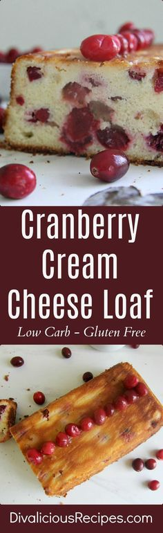 A cranberry cream cheese loaf cake that is low in carbs and gluten free too. Enjoy a healthy cake in the holidays. Or when you can get your hands on some cranberries.